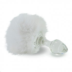 Crystal Delights Crystal Minx Magnetic Bunny Tails With Real Fur White