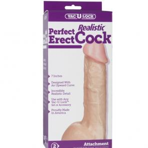 Vac-U-Lock 7 INCH Realistic Perfect Erect Cock by Doc Johnson