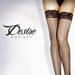 Desire Silicone Stay Up Lycra Diamond Net Thigh High BLACK ONE SIZE