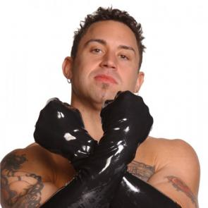 Mens Large Elbow-Length Black Latex Gloves
