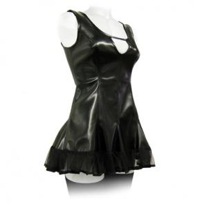 Black PVC Dress With Lace Trim