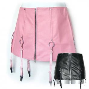 Leather Mini Skirt With Garter and O-Rings