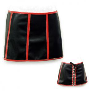 Black and Red Stretch PVC Skirt