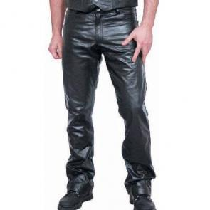Classic Zip Fly Jeans Style Leather Pants