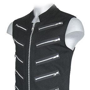 Black Sleeveless Garment Shirt With Zips