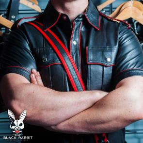 Lambskin Leather Uniform Shirt With Red Trim & Sam Brown