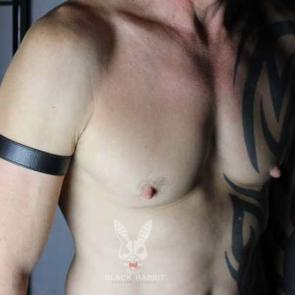 "1"" Wide Black Leather Armband"