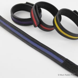 Colour Stripe Leather Velcro Cockring