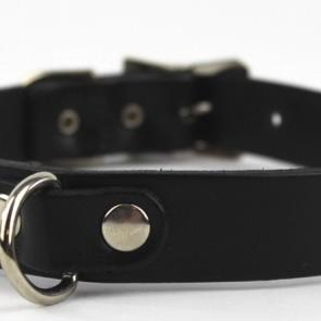 Black Leather D-Ring Slave Collar