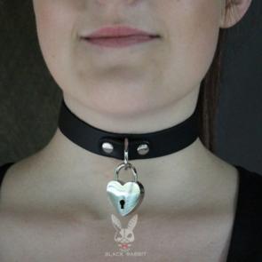 Black Collar With Heart Shape Lock