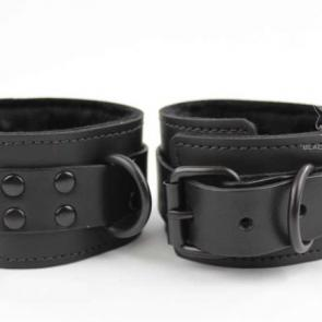 Fur Lined Leather Cuffs Black Hardware