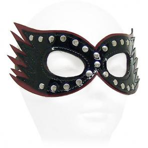 Black and Red Patent Studded Leather Cat Mask
