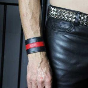 Black Leather Wristband With Colour Stripe