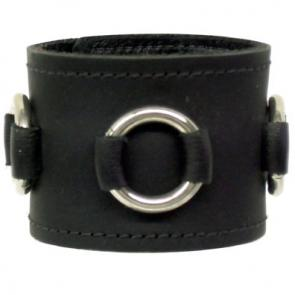 Black Leather Wrist Band With O-Rings