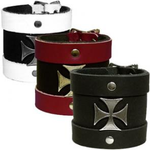 Leather 2-Strap Wristband With Iron Cross