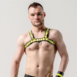 Mister B Rubber Trunks Zip Black Neon Yellow Stripe