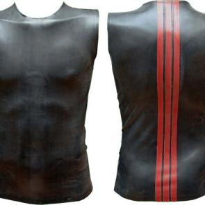 Black Rubber Sleeveless T With Red Striped Back