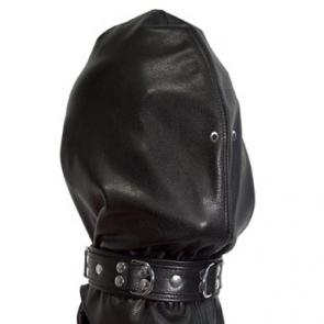 Leather Headbag With Collar and Nose Holes