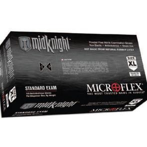 Microflex MidKnight Powder-Free Black Nitrile Exam Gloves Box/100