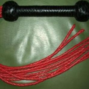 Leather Cat O Nine Red Plaited Tails