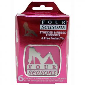 Four Seasons Studded and Ribbed Condoms Collectors Tin - 6 Pack