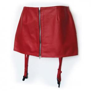 Leather Mini Skirt With Garter