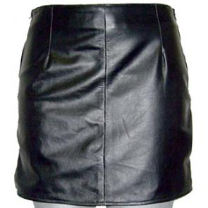 Side Zipper Leather Skirt