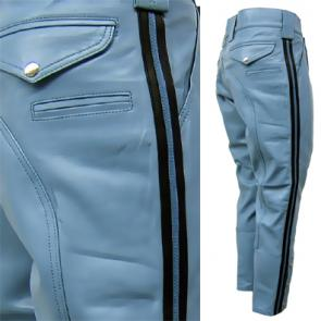 Leather Highway Patrol Pants With Side Stripes