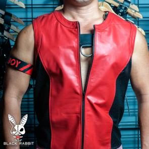 Red Leather Black Perforated Leather Tank Top