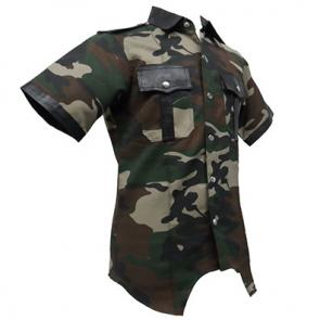 Camouflage Fabric and Leather Trim Highway Patrol Shirt
