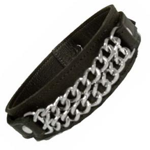 Double Chain Black Leather Armband