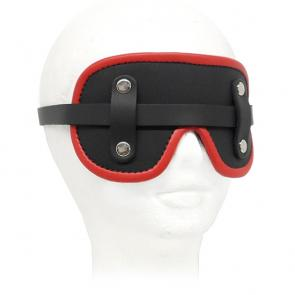 Leather Fur Lined Goggle Blindfold With Piping Red