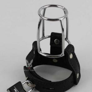Black Leather Stallion Guard Cage