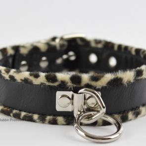 Leather Collar With Leopard Fleece Piping