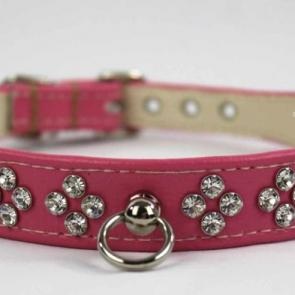 Rhinestone Post Ring Leather Slave Collar