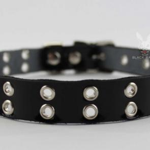 Double Row Eyelet Leather Collar