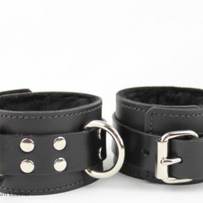 Leather Fur Lined Cuffs With Triple D-Rings