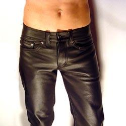 Leather Hipster Jeans