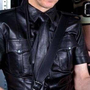 Mister B Black Leather Sam Browne