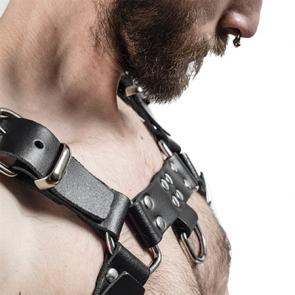 Mens Black Saddle Leather Chest Harness