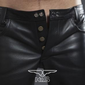 Mister B Leather Jeans Button Fly
