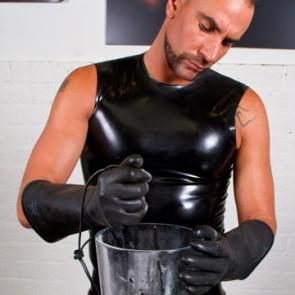 Black Rubber Sleeveless Tank