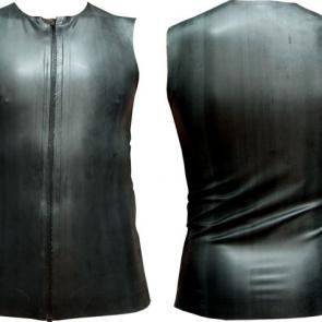 Sleeveless Black Rubber Tank With Zip