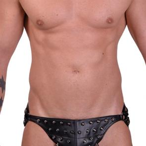 Cone Studs Leather Adjustable Jock Strap Posing Pouch