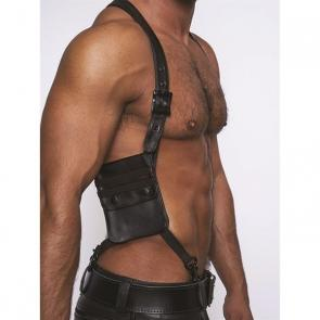 Mister B Leather Wallet Harness Black Stripes