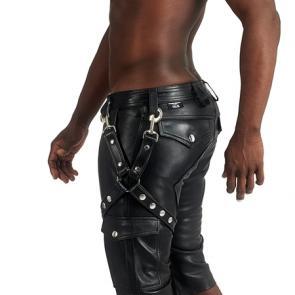 Mister B Leather Cargo Shorts Back