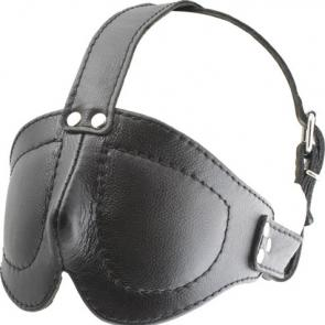 Deluxe Leather Blindfold With Straps
