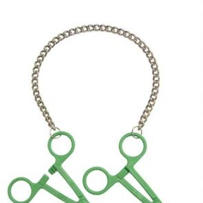 Green Tube Clamps on Chain