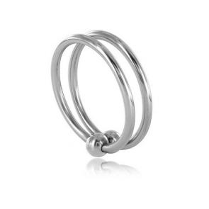 Stainless Steel Double Glans Ring With Duo Ball