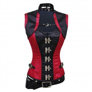 Karleigh Steampunk Satin Corset With Jacket and Pouch